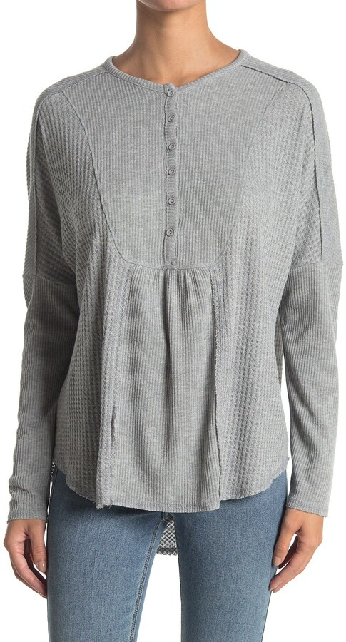 Thumbnail for your product : Gibson Mixed Rib Waffle Knit Henley