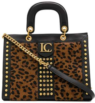 La Carrie studded leopard tote bag