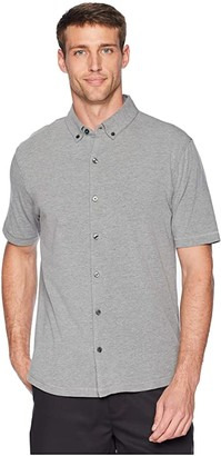 Linksoul LS1184 - Anza Heathered Button-Down Shirt (Black Heather) Men's T Shirt