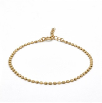 Simply Silver Sterling Silver 14ct Yellow Gold Flat Bead Chain Bracelet