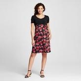 MaCherie Maternity Floral Print Short-Sleeve V-Neck Belted Blouse Black