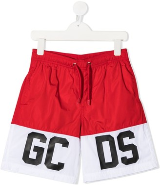 Gcds Kids Logo Print Swim Shorts