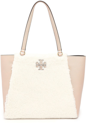 Tory Burch Textured-leather Paneled Logo-embellished Shearling Tote
