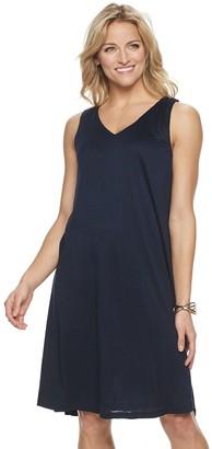 Nina Leonard Women's Slubbed Lace-Up Back Dress