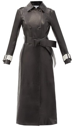Gabriela Hearst Jensen Double-breasted Leather Trench Coat - Black White