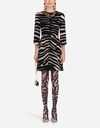 Dolce & Gabbana Short Organza Dress With Flocked Zebra Print