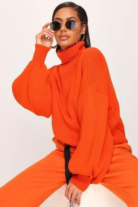 I SAW IT FIRST Bright Orange Balloon Sleeve Roll Neck Knitted Jumper