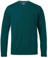 Charles Tyrwhitt Pine green merino wool crew neck sweater
