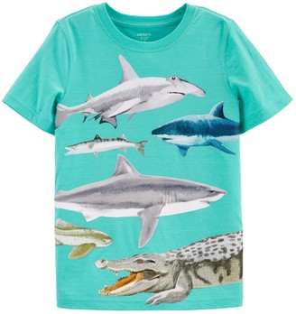 """Carter's Boys 4-14 Shark """"Explore Your World"""" Front & Back Graphic Tee"""