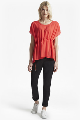 French Connection Classic Crepe Drawstring Waist Top