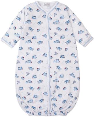 Kissy Kissy Rickety Railroad Printed Convertible Sleep Gown, Size Newborn-Small