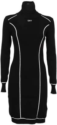 Off-White Off White Knit Athletic Turtleneck Dres Black Whit