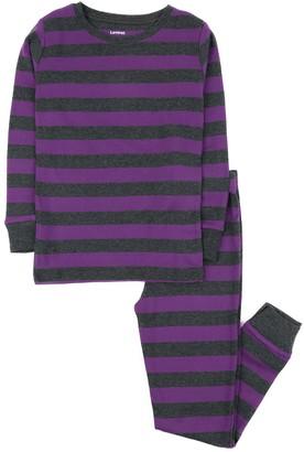 Leveret Purple and Grey Stripes 2-Piece Pajama Set (Toddler, Little Kids, & Big Kids)