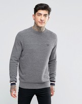 Fred Perry Sweater In Pique With Crew Neck In Steel Marl