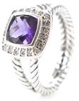 David Yurman Vintage Sterling Silver, Amethyst & 0.17 Total Ct. Diamond Petit Albion Ring