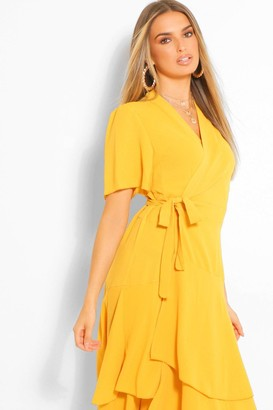 boohoo Wrap Belted Tiered Midaxi Dress