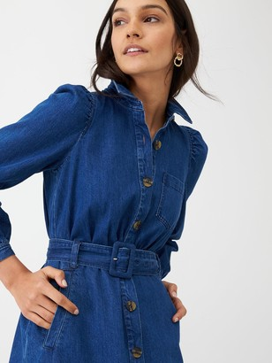 Whistles Belted Midi Shirt Dress - Denim