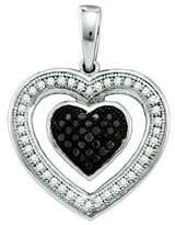 DazzlingRock Collection 0.20 Carat (ctw) 10k White Gold & White Diamond Ladies Heart Pendant
