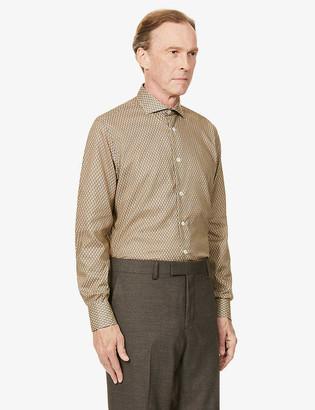 Eleventy Link ring-print regular-fit cotton-poplin shirt