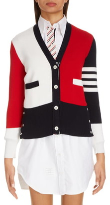 Thom Browne 4-Bar Colorblock Wool Cardigan