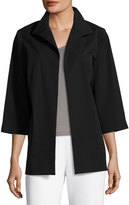Ming Wang 3/4-Sleeve Open-Front Jacket, Black