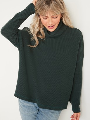 Old Navy Oversized Cozy Thermal-Knit Cowl-Neck Long-Sleeve Top for Women