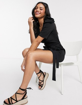Qed London tailored tie waist playsuit in black
