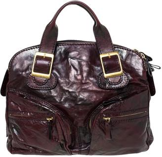 Valentino Dark Burgundy Leather Triple Zip Satchel