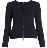 Giorgio Armani Viscose Zip Front Textured Knit Jacket