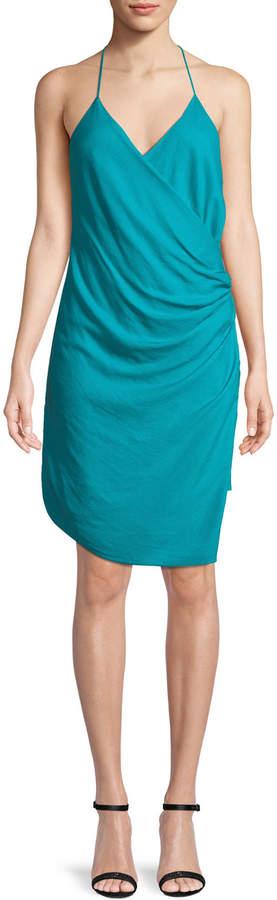 Haute Hippie Poolside Wrap-Front Sleeveless Mini Dress