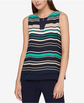 Tommy Hilfiger Striped Mixed-Media Shell