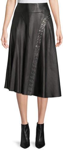 Derek Lam A-Line Leather Skirt w/ Grommet Detail