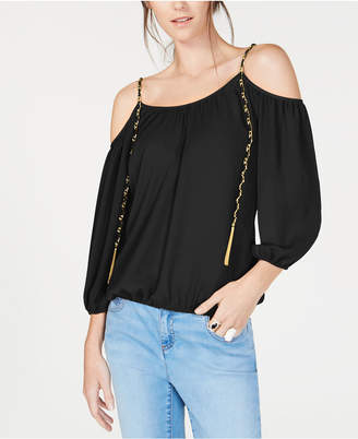 INC International Concepts Inc Cold-Shoulder Chain-Detail Top