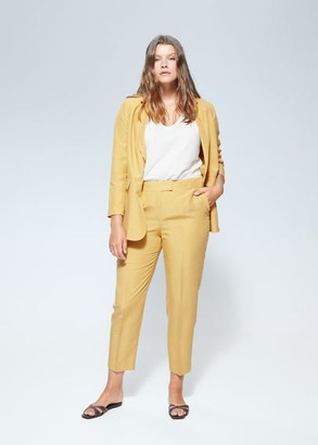 MANGO Violeta BY Cropped linen-blend pants mustard - M - Plus sizes