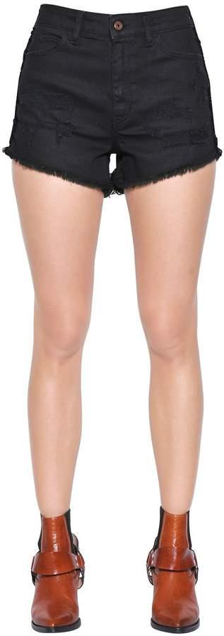 Just Cavalli Destroyed Cotton Denim Shorts