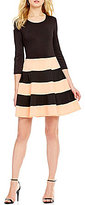 Jodi Kristopher Wide-Striped Color Block Scuba Skirt Skater Dress