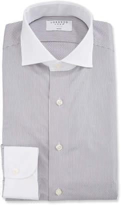 Lorenzo Uomo Men's Striped Cotton Dress Shirt, Black/White