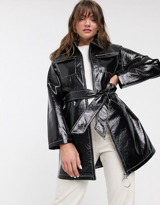 Glamorous belted jacket in vinyl