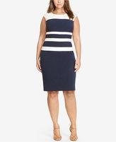Lauren Ralph Lauren Plus Size Colorblocked Gabardine Dress