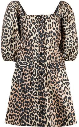 Ganni Leopard-Print Puff-Sleeve Flared Dress