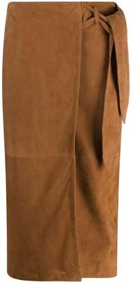 Arma Wrap Goat Suede Skirt