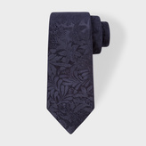 Paul Smith Men's Navy Tonal Floral Embroidery Narrow Silk Tie