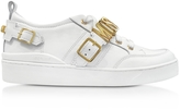 Moschino White Leather Lace Up Sneaker w/Signature Logo