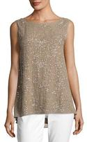 Eileen Fisher Ethereal Hand-Beaded Sleeveless Top, Mocha