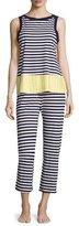 Kate Spade Striped Two-Piece Cropped Pajama Set, Multi Pattern