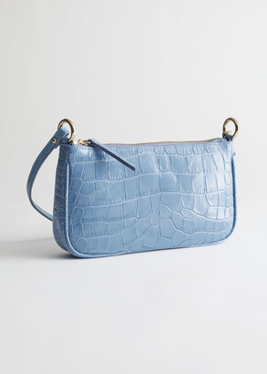 And other stories Croc Embossed Leather Shoulder Bag
