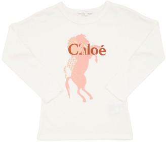 Chloé Logo Print L/s Cotton Jersey T-shirt