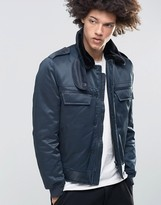 Cheap Monday Freeze Flight Bomber Faux Fur Collar Navy