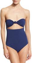Mara Hoffman Knot-Front Bandeau Cutout One-Piece Swimsuit, Blue