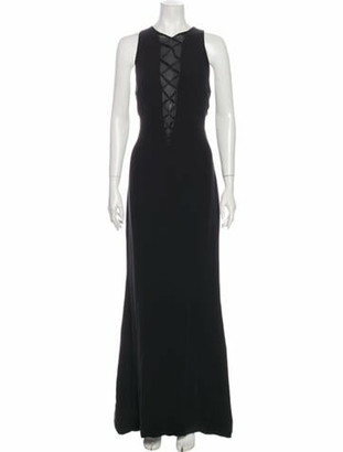 Gianni Versace Silk Long Dress Black
